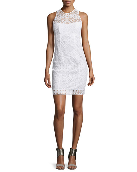 Nanette Lepore Sleeveless Lace Illusion Sheath Dress, White