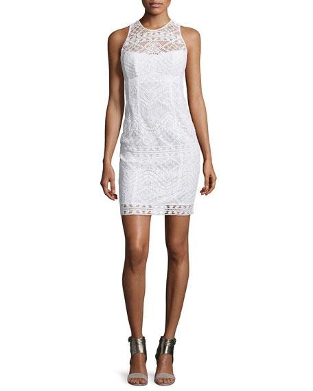 Sleeveless Lace Illusion Sheath Dress, White