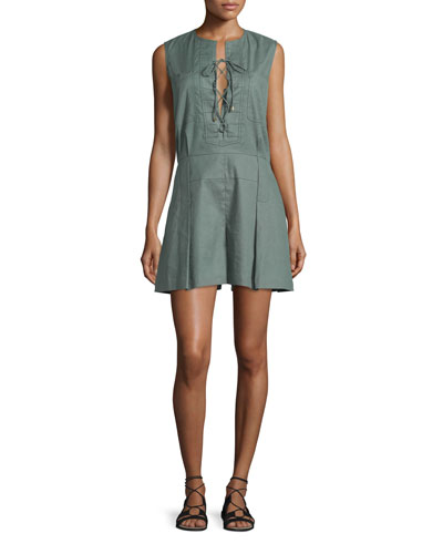Sleeveless Pleated Linen-Blend Romper, Army
