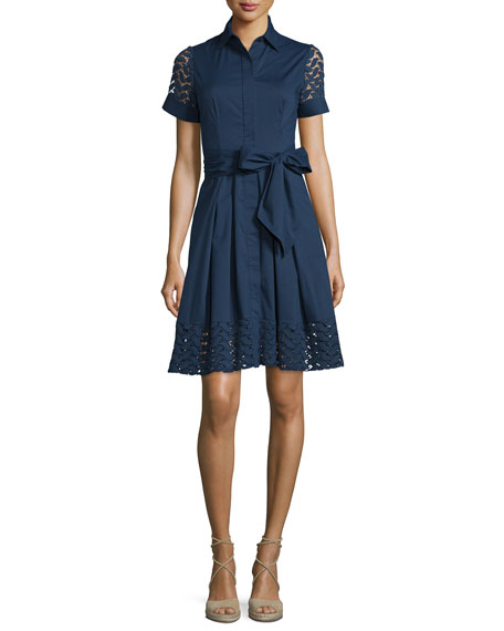 Shoshanna Short-Sleeve Belted A-line Shirtdress
