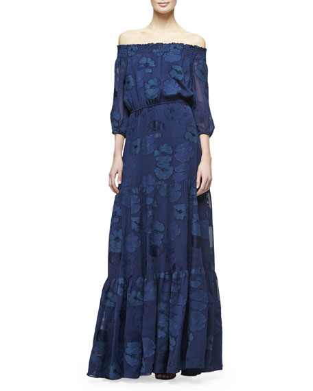 Shoshanna Off-the-Shoulder Jacquard Tiered Maxi Dress, Navy