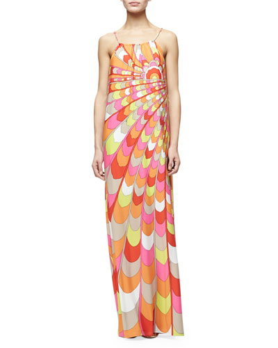 Sleeveless Printed Column Gown, Multi Colors