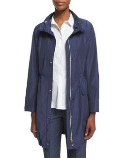 Polished Midi Drawstring Raincoat