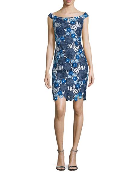 Aidan MattoxOff-The-Shoulder Lace Cocktail Dress, Blue/Multi