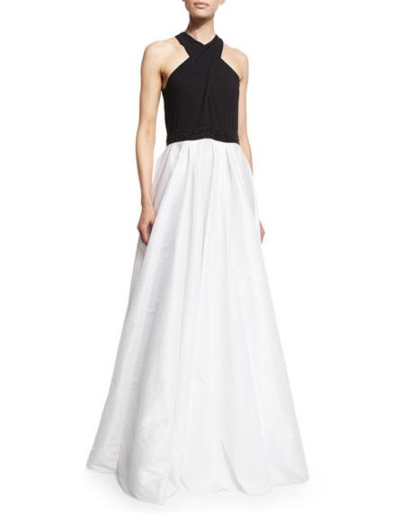 Carmen Marc Valvo Crisscross-Halter Colorblock Gown, Black/Ivory