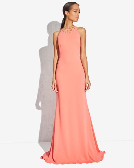 Sleeveless Halter Gown