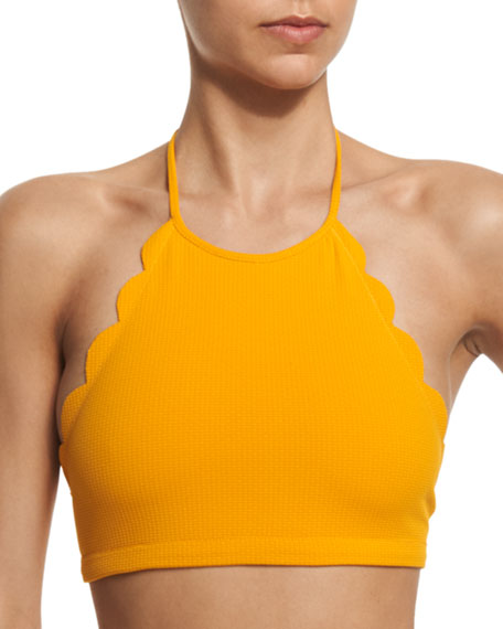 Mott Scalloped High-Neck Halter Swim Top, Papaya
