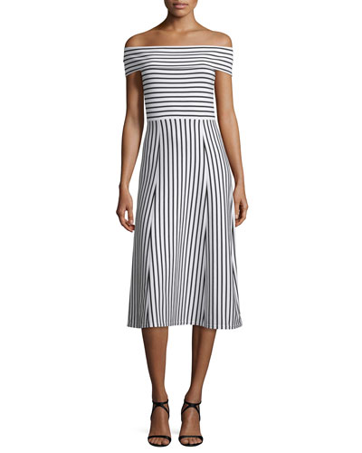Striped Off-the-Shoulder Midi Dress, Soft White