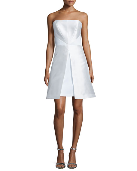 Phoebe Couture Strapless Fit-&-Flare Cocktail Dress, White