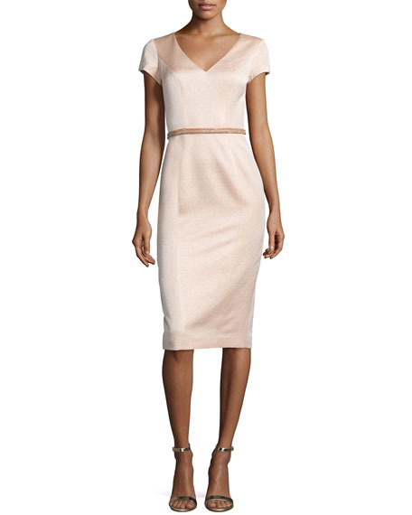 Theia Cap-Sleeve V-Neck Midi Cocktail Dress, Peach