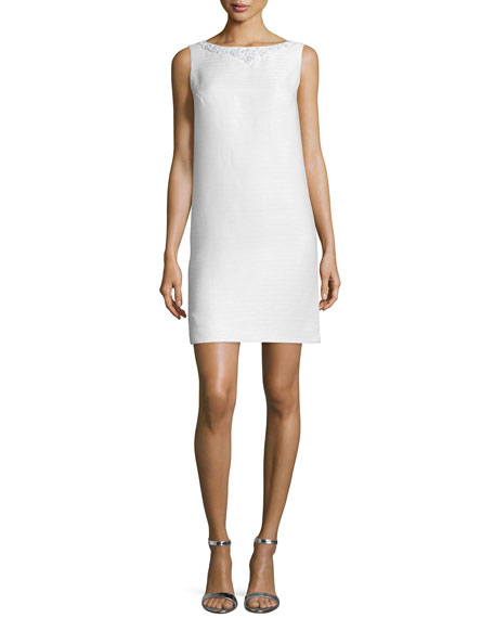Theia Sleeveless Embellished Shift Dress, Ivory