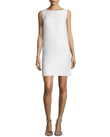 Theia Sleeveless Embellished Shift Dress, Ivory