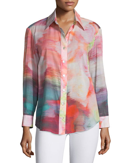 Finley Button-Front Watercolor-Print Blouse, Multi Colors
