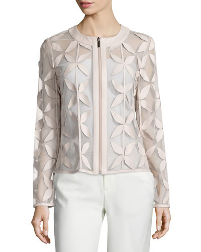 Leather New Leaf Mesh Jacket, Off White