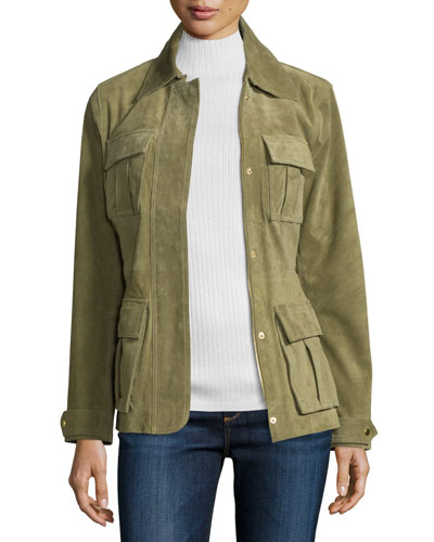 Snap-Front Safari Suede Jacket, Olive