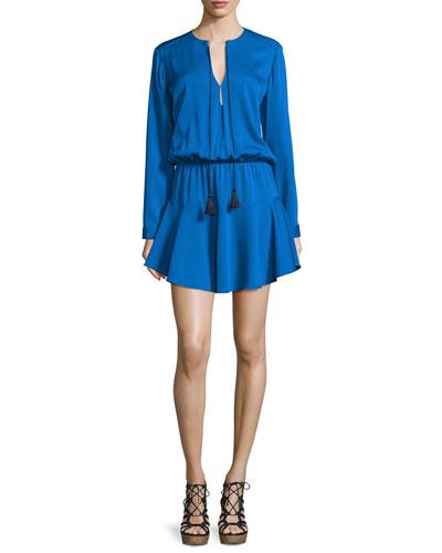 Pilar Long-Sleeve Split-Neck Dress, Classic Blue