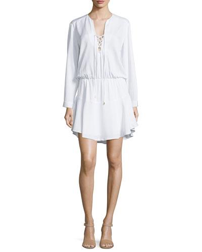 Carol Long-Sleeve Lace-Up Mini Dress, White