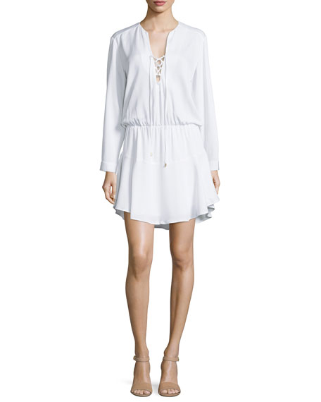 Karina Grimaldi Carol Long-Sleeve Lace-Up Mini Dress, White