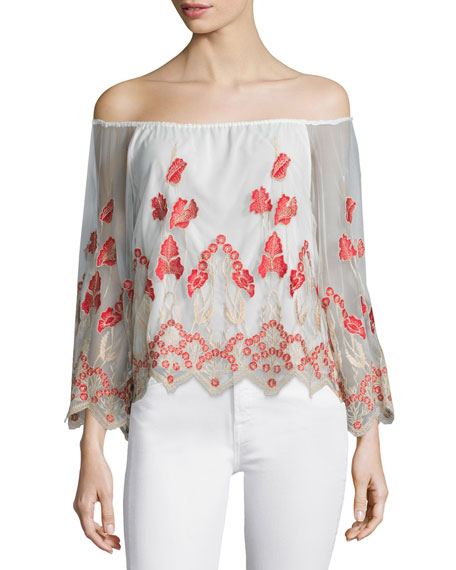 Alice + OliviaPriya Embroidered Chiffon Top, Multicolor