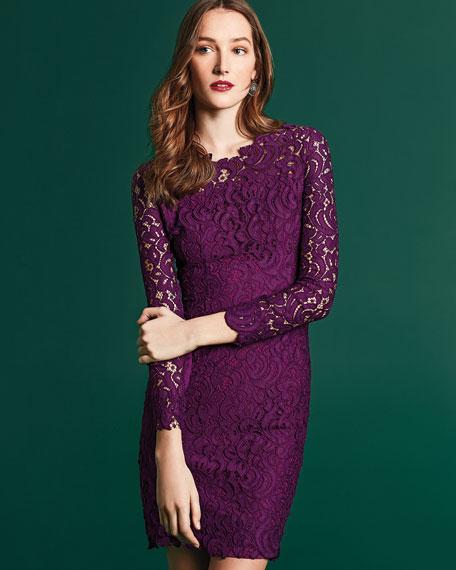 0043e8c971f5e Elie Tahari Bellamy Lace Long-Sleeve Dress, Garnet
