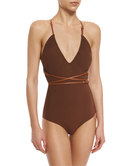 Michael Kors Collection Belted Wrap One-Piece Swimsuit