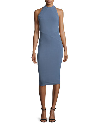 Agdal Sleeveless Midi Sheath Dress, Chambray