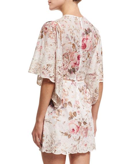 zimmermann eden floral print embroidered dress. Black Bedroom Furniture Sets. Home Design Ideas