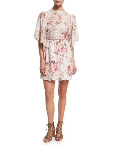 Eden Floral-Print Embroidered Dress