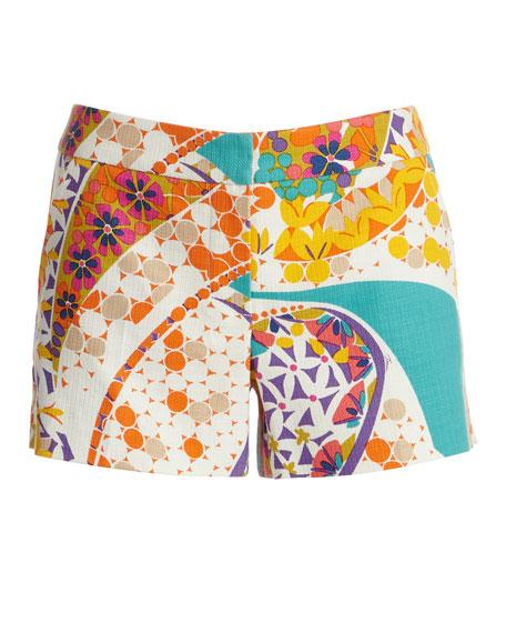 Floral-Print Mosaic Short Shorts