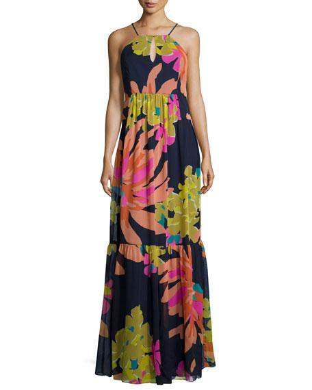 Trina Turk Halter Floral-Print Maxi Dress