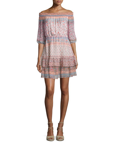 3/4-Sleeve Off-the-Shoulder Printed Silk Dress, Apricot/Multi