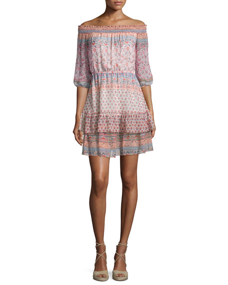 Shoshanna 3/4-Sleeve Off-the-Shoulder Printed Silk Dress,