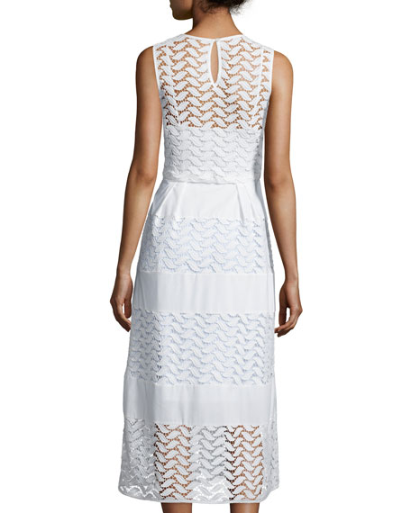 Sleeveless Crewneck Tiered A-Line Dress, White