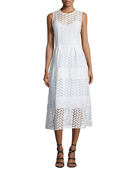 Shoshanna Sleeveless Crewneck Tiered A-Line Dress, White