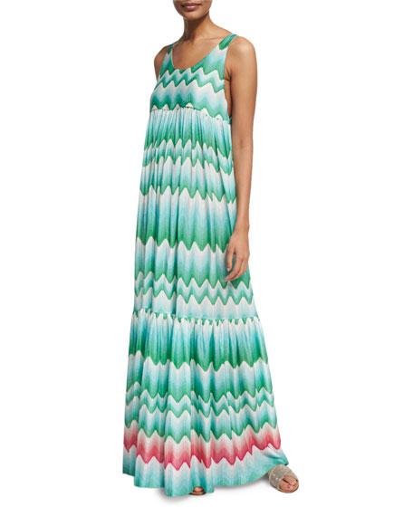 Missoni Mare Wavy-Print Sleeveless Maxi Dress
