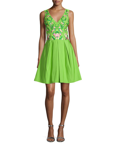 Marchesa NotteSleeveless Floral-Embroidered Party Dress
