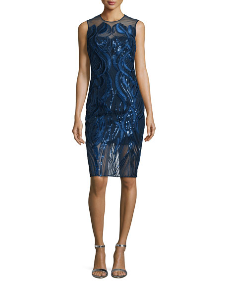 Marchesa Sleeveless Sequined Cocktail Dress, Navy