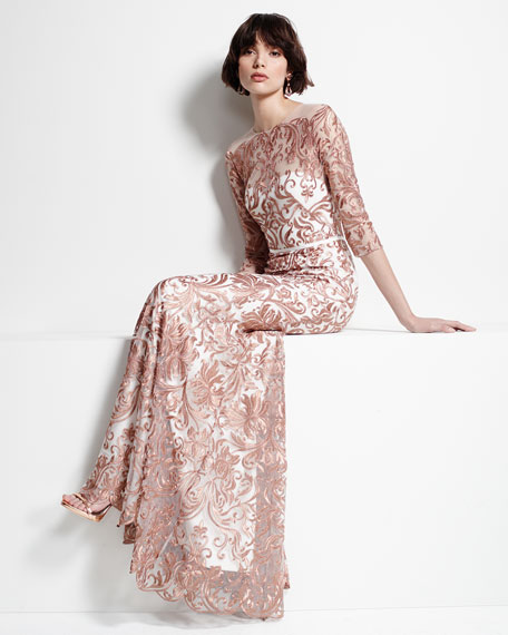 3/4-Sleeve Embroidered Mermaid Gown
