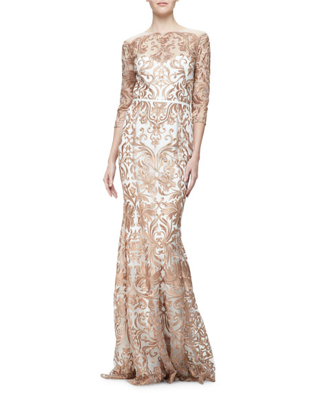 Marchesa 3/4-Sleeve Embroidered Mermaid Gown