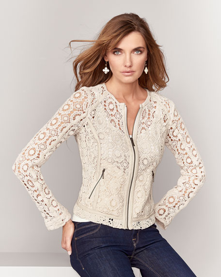 Crochet Jacket with Lambskin Trim, Ecru