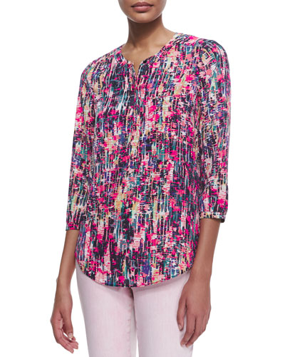3/4-Sleeve Printed Pleated-Back Blouse, Spring Confetti