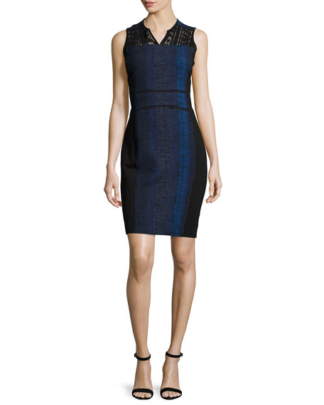 Elie Tahari Cassandra Striped Tweed Sheath Dress, Black