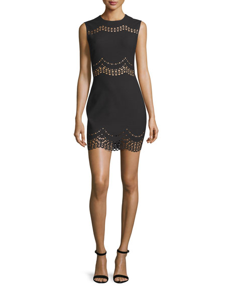 Elizabeth and James Merna Scalloped Lace-Inset Mini Dress, Black