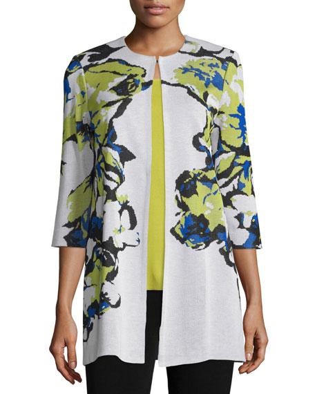 Misook Plus Size Floral-Knit Long Jacket, Multi Colors