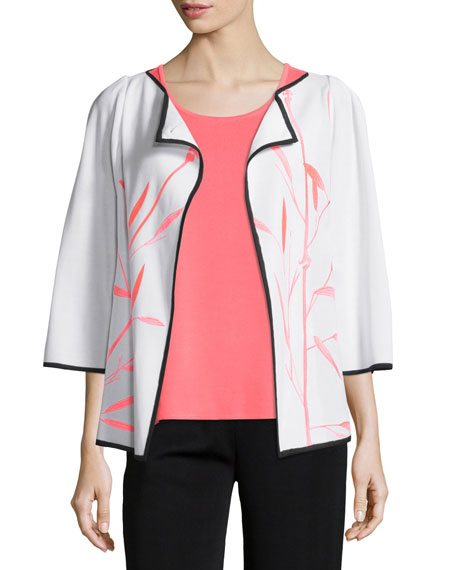 Misook Bamboo-Print 3/4-Sleeve Jacket, Scoop-Neck Tank & Washable