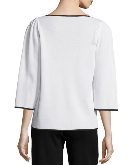 Bamboo-Print 3/4-Sleeve Jacket, Plus Size