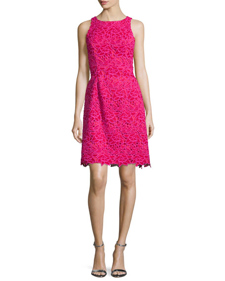 Sleeveless Two-Tone Lace Cocktail Dress