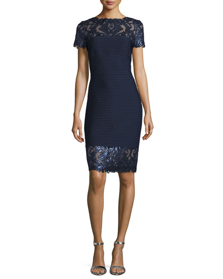 Tadashi Shoji Short-Sleeve Sequined Lace Cocktail Dress