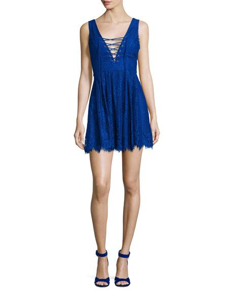 Lovers + FriendsStorm Lace-Up Lace Mini Dress, Marine
