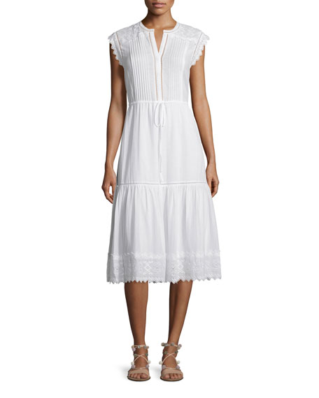 Rebecca Taylor Sleeveless Pintucked Lace-Trim Midi Dress, White